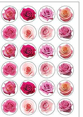 £1.99 • Buy 24 PRECUT Mixed Pink Roses Edible Wafer Paper Cake Toppers Decorations