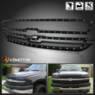 $107.38 • Buy For 2003-2005 Silverado 03-06 Avalanche Rivet Mesh Black Upper Grille Inserts