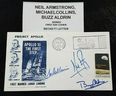 $5999.99 • Buy 1969 Apollo 11 Fdc Signed By Neil Armstrong Buzz Aldrin, Michael Collins Beckett