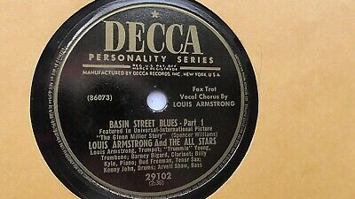 Louis Armstrong 78rpm Single 10-inch Decca Records #29102 Basin Street Blues  • 19.99$