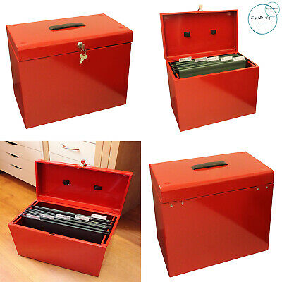 New Metal A4 Home File Storage Box Lockable Security Document Paper Organiser • 16.99£