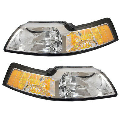 $84.61 • Buy Pair Halogen Headlights Fit 1999-2004 Ford Mustang Lens Set W/ Chrome Bezels