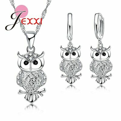 £5.49 • Buy 925 Sterling Silver Cute Owl CZ Crystal Pendant Necklace & Earring Set Gifts UK