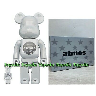 $358.88 • Buy Medicom 2020 Atmos White Chrome 400% +100% Be@rbrick Bearbrick