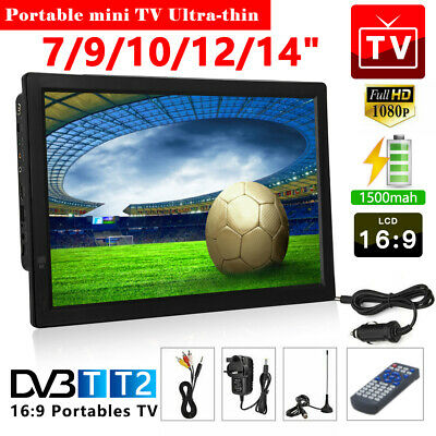 7/9/10/12/14inch 1080P Portable HDMI HD Digital TV Player Freeview Television UK • 72.53£