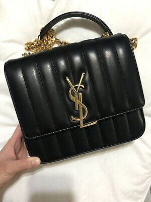 AU2199 • Buy YSL SAINT LAURENT Medium Vicky Bag In Black Lambskin Leather AUTHENTIC RRP $3310