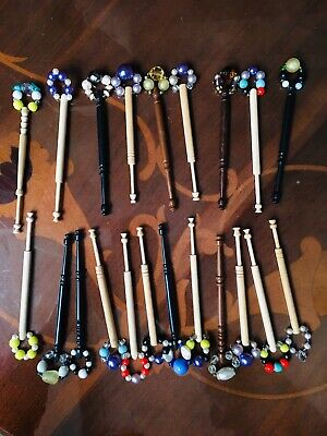 21 Of Vintage Lace Making Bobbins With Beads Spangle(1) • 18£
