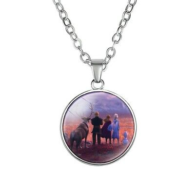 Frozen 2 Characters Necklace Disney Princess Purple Silver Girls Gift • 2.99£