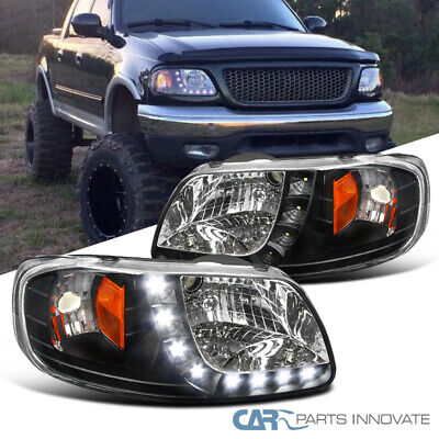 $104.95 • Buy For 97-03 Ford F150 Expedition Pickup Black SMD LED Headlights Head Lamps Pair
