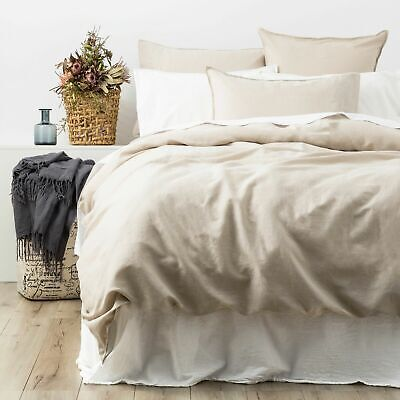 $ CDN141.24 • Buy Renee Taylor Cavallo 100% French Linen Quilt Cover Set- Natural