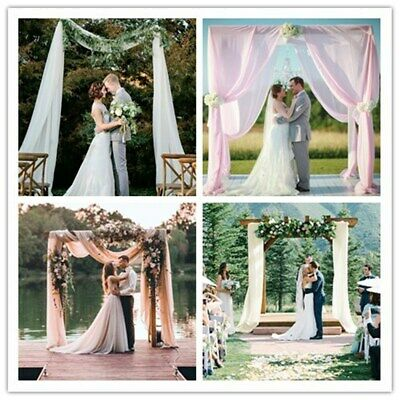 $19.80 • Buy Chiffon Backdrop 2 PCS 2.4ftx8ft  Background For Wedding Party Photo Arch Decor