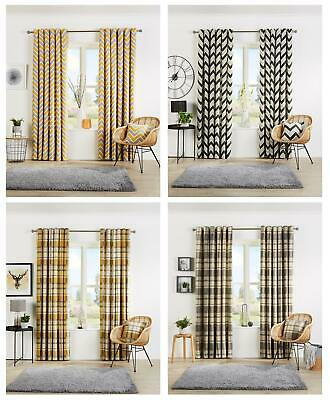 £30.95 • Buy Eyelet Curtain Pairs Designer Fully Lined Ring Top Curtains Light Reducing