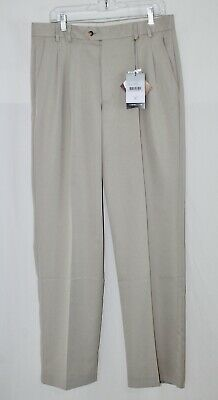 $14 • Buy NEW Mens CUTTER & BUCK 34 X 34 Khaki Tan Cocona BB DryTec Pleated Golf Pants