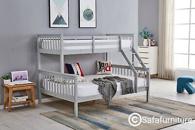 £294.99 • Buy Bunk Bed Wooden Frame Triple Sleeper Children 4ft6 Adult Silk Grey Or White Bed