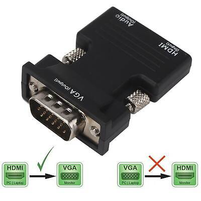1080P HDMI Female To VGA Male With Audio Output Cable Converter Adapter Lead UK • 3.08£