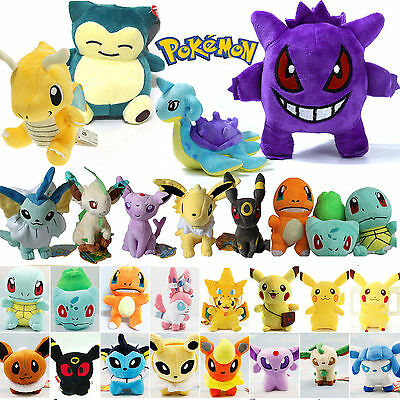 Toys Stuffed Pokemon Pikachu Eevee Squirtle Gengar Plush Teddy Collection Gifts • 3.36£