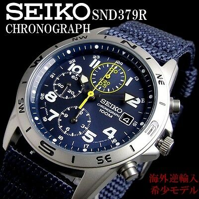 $ CDN153.31 • Buy New!! SEIKO SND379 SND379R Chronograph 100m Blue New Men's Watch From Japan