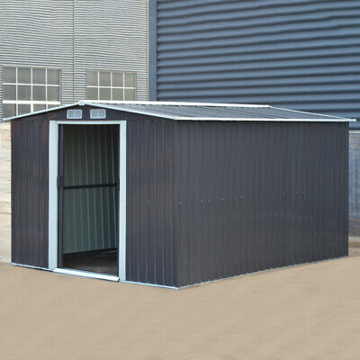 Metal Apex Roof Garden Shed Outdoor Storage House Tool Sheds + Free Foundation • 279.95£