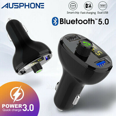 AU19.99 • Buy Bluetooth 5.0 Radio Car Kit Wireless FM Transmitter Dual USB Charger MP3 Player
