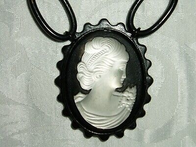 $29.99 • Buy D.O.M..  DOMINIQUE COHEN   MOTHER OF PEARL, CAMEO PENDANT NECKLACE BLACK Chain