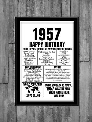 £3.99 • Buy 65th 1956 Personalised Birthday Gift Present Poster Print Back In Milestone