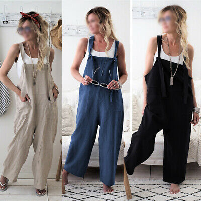 AU28.99 • Buy Women Baggy Dungarees Strap Overalls Bib Harem Trousers Sleeveless Jumpsuit