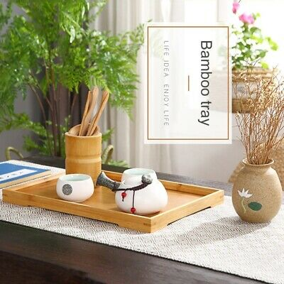 $15.99 • Buy Newest Wood Serving Tray Food Tea Table Bamboo Tray Breakfast Snack Coffee Plate