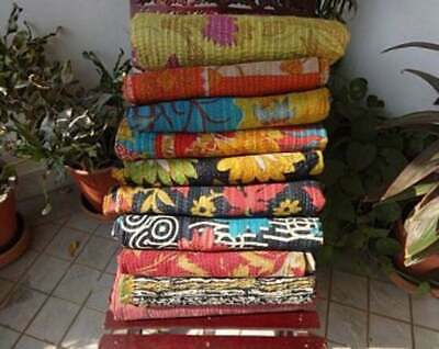 Wholesale Lot Indian Vintage Reversible Kantha Quilt  PC Throw Blanket Ralli • 13.80£