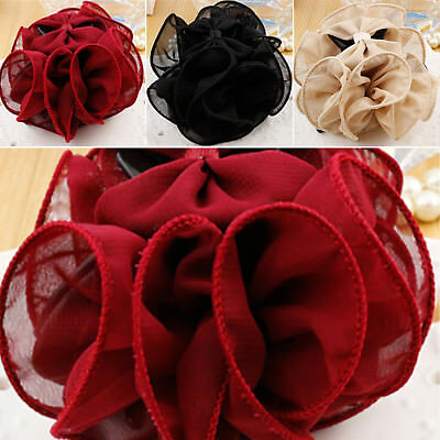 $4.74 • Buy Women Chiffon Rose Flower Bow Bun Jaw Clip Barrette Hair Claw Accessories US