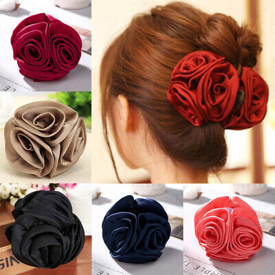 $4.74 • Buy Women Chiffon Rose Flower Bow Jaw Hair Clip Barrette Hair Claw Accessories US