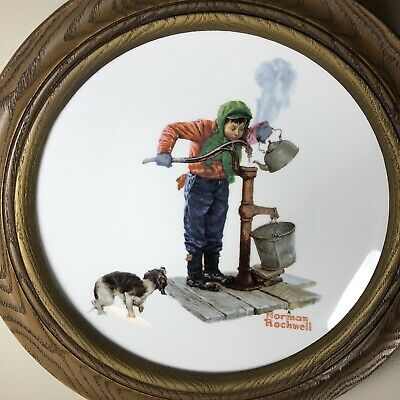 "$ CDN24.45 • Buy Norman Rockwell Collector Porcelain Plate ""Winter-Chilling Chore"" Framed"