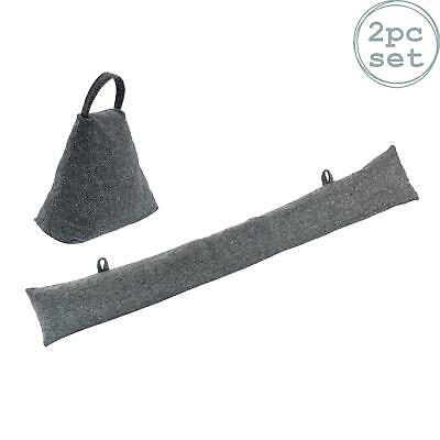 Fabric Door Stop Doorstop Draught Excluder Cushion Home Office Grey Triangle • 15.99£