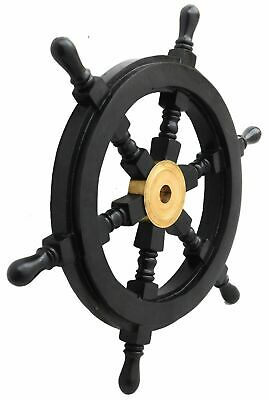 Wooden Ship Wheel Pirate Captain Brass Boat Steering Home Wall Decorative • 62.11£