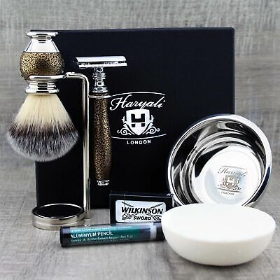 Complete Shaving Set Synthetic Brush & DE Safety Razor Men's Kit Gift For Him • 39.60£
