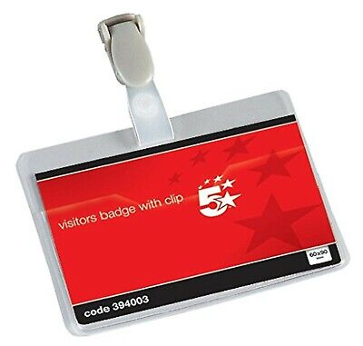 £24.99 • Buy 5 Star Office Name Badges Visitors Landscape With Plastic Clip 60x90mm (Pack ...