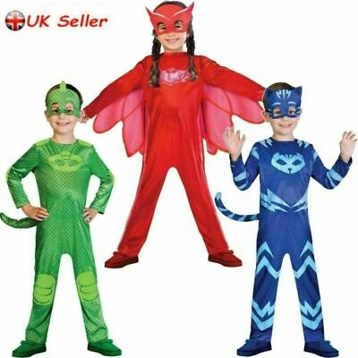 Kids PJ Masks Boys Girls Superhero Child Fancy Dress Cosplay Costume Outfit Set  • 11.89£