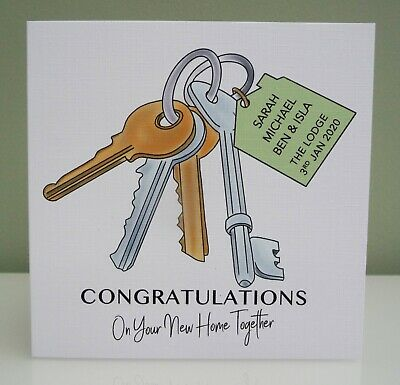 Personalised New Home Card Handmade New House Card Key • 3.25£