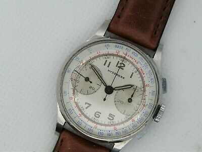 $ CDN887.35 • Buy Vintage Hydepark Landeron Big Eye Chronograph Beauty All Steel Circa 40's
