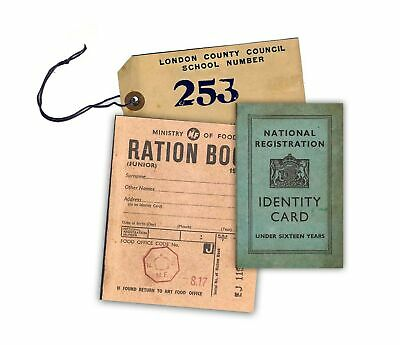 WW2 Replica Ration Book, Evacuee Tag And Identity Card By Memorabilia Pack Co... • 15.99£