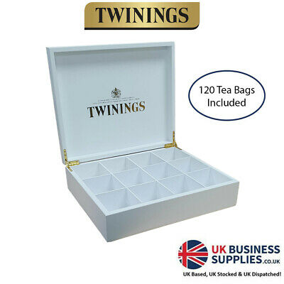 Twinings 12 White Wooden Compartment Tea Chest Box & 120 Mixed Tea • 28.95£