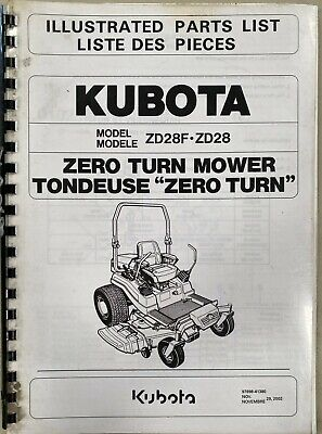 AU25 • Buy Parts Manual, Kubota Zero Turn Mower ZD28F. ZD28.
