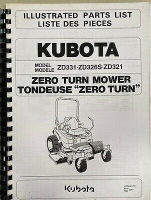 AU25 • Buy Parts Manual, Kubota Zero Turn Mower ZD331. ZD326S. ZD321.