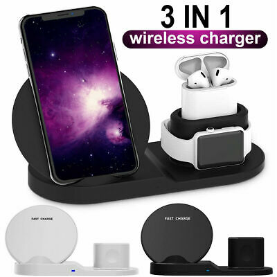 $ CDN20.11 • Buy 3in1 Qi Wireless Charger Station Dock For Apple Watch Aipods IPhone 11/11 Pro/X