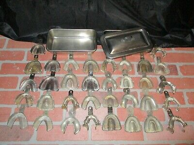 $33.99 • Buy Lot Of 34 Vintage Dental Denture Impression Trays Plus 2 Stainless Trays