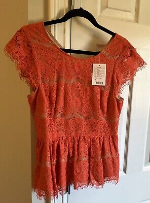 $ CDN27.90 • Buy Maeve Anthropologie Tan Red Lace Cap Sleeve Blouse Top Women Medium $98 Retail