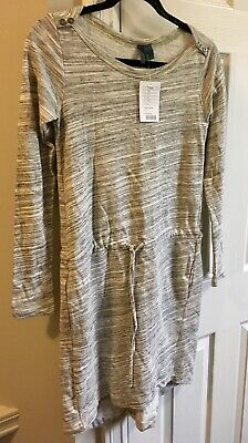 $ CDN45 • Buy Left Of Center Anthropologie Grey Ivory Drawstring Sweater Tunic Small