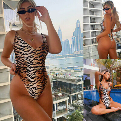£9.96 • Buy Woman Sleeveless Padded Monokini Tiger Stripes Printed Backless Swimsuit S-L