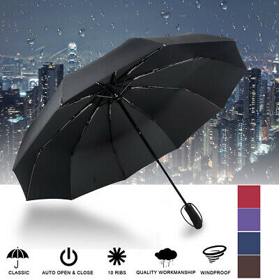 AU14.69 • Buy Strong 10 Ribs Automatic Open Close Umbrella Folding Compact Portable