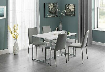 Scala Dining Set White Marble Effect With Option Of 4 Slate Grey Linen Chairs • 241.38£
