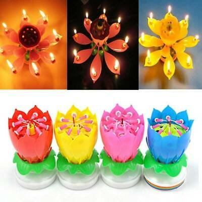 $ CDN3.39 • Buy Magic Cake Birthday Lotus Flower Candle Decoration Blossom Musical Rotating Gift